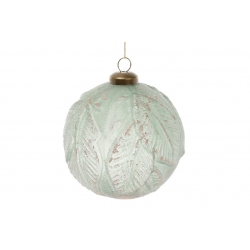 Елочный шар 10см Листья, цвет - нефритовый зеленый