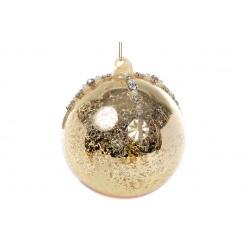 Елочный шар 10см золото антик с декором из страз и бусин