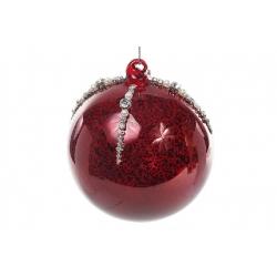 Елочный шар 10см красный антик с декором из страз и бусин