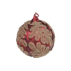 Елочный шар 10см красный матовый с золотым узором