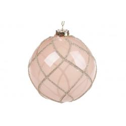 Елочный шар 10см полупрозрачный с орнаментом из глиттера, цвет - пудра