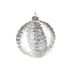 Елочный шар 10см прозрачный с рельефными узорами и крупным глиттером, цвет - серебро