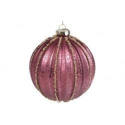 Елочный шар 10см рельефной формы с декором из бусин, цвет - брусничный