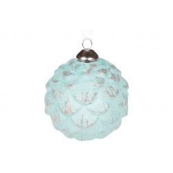 Елочный шар - шишка 8см цвет - мятно-голубой