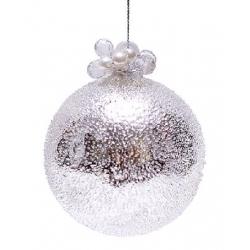 """Елочный шар - серебро с покрытием """"лёд"""",с декором из бусин и жемчуга, 8см"""