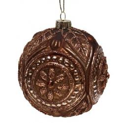 Елочный шар 10см коричневый антик