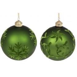 Елочный шар 10см Зелёный бархат, микс 2 вида в дисплей-коробке