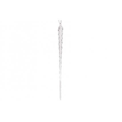 Елочное украшение Сосулька витая 30см, цвет - хрустальный белый