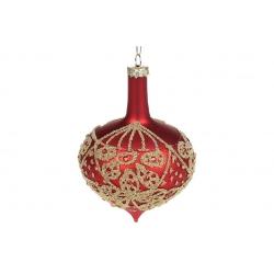 Елочное украшение 12см с росписью глиттером и стразами, цвет - матовый красный