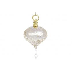 Елочное фигурное украшение с декором в цвете шампань, 28см, цвет - белый перламутр