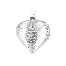Елочное украшение 10см прозрачный с рельефными узорами и крупным глиттером, цвет - серебро