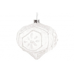 Елочное украшение 10см, цвет - морозный белый