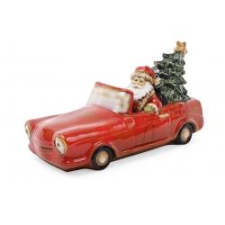 Декор новогодний фарфоровый Санта в машине, с LED-подсветкой