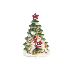 Декоративная музыкальная статуэтка Санта у елки с LED-подсветкой 30см (2 режима - подсветка и подсветка с музыкой)