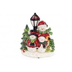 Декоративная музыкальная статуэтка Снеговик с LED-подсветкой 28см (2 режима - подсветка и подсветка с музыкой)