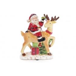 Декоративная статуэтка с LED-подсветкой Санта на олене 27см (2 режима - подсветка и подсветка с музыкой) на батарейках (3хААА)