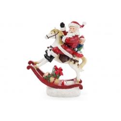 Декоративная статуэтка Санта на лошади с LED-подсветкой 34см