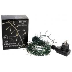 Гирлянда-кластер 280 мини-LED, 1 линия, 2 метра, цвет лампочек - тёплый белый, цвет провода - зеленый, постоянное свечение