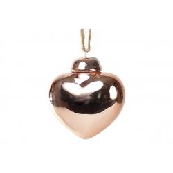 Декор на елку Сердце 6.5см, цвет - медь