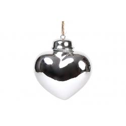 Декор на елку Сердце 6.5см, цвет - серебро