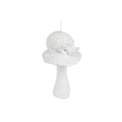 Елочное украшение Белочка с грибом, 7см, цвет - белый