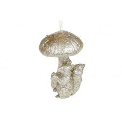 Елочное украшение Белочка с грибом, 7см, цвет - шампань