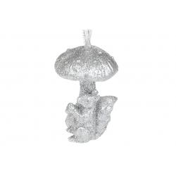 Елочное украшение Белочка с грибом, 7см, цвет - серебро