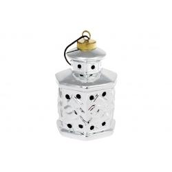 Декоративные керамические подвесные Фонарики с LED подсветкой, 11.7см, цвет - серебро