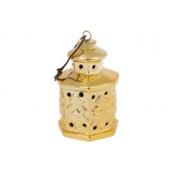 Декоративные керамические подвесные Фонарики с LED подсветкой, 11.7см, цвет - золото