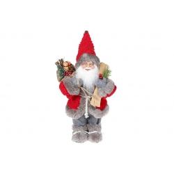 Мягкая игрушка Санта 30см, цвет - красный с серым