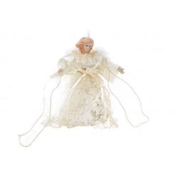 Верхушка на елку Ангел 17.5см, цвет - шампань