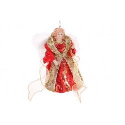 Верхушка на елку Ангел 17.5см, цвет - красный с золотом