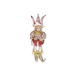 Декоративная новогодняя музыкальная игрушка Арлекин, 40см, цвет - розовый