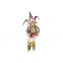 Декоративная новогодняя музыкальная игрушка Арлекин, 55см, цвет - розовый