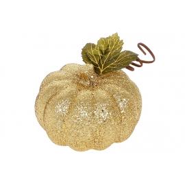 Декор Тыква, 10см, цвет - золотой глиттер