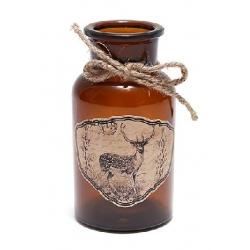 Декоративная бутылочка 12.5см с рисунком Олень и тесьмой
