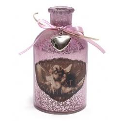 Декоративная бутылочка 15см с рисунком Ангелы и декором