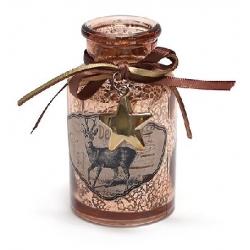 Декоративная бутылочка 10.2см с рисунком Олень и декором