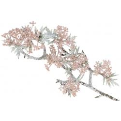 Декоративная ветвь Асклепиаса в инее, 44см, цвет - розовый