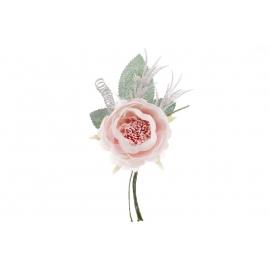 Декоративный искусственный цветок Роза с зимним декором, 11 см, цвет - нежно-розовый