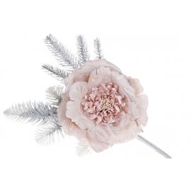Декоративный искусственный цветок Пион, 16*39см, цвет - светло-персиковый