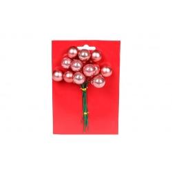Гроздь ягод для декора 12 шт, 2см, цвет - темно-розовый