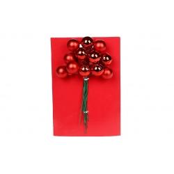 Гроздь ягод для декора 12 шт, 2см, цвет - красный