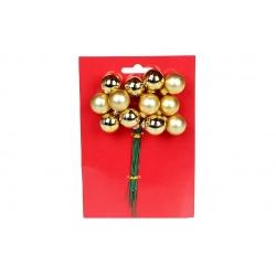 Гроздь ягод для декора 12 шт, 2см, цвет - золото