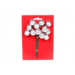 Гроздь ягод для декора 12 шт, 2см, цвет - серебро