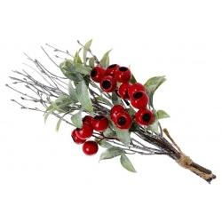 Букетик из веточек, зеленых листьев и красных ягод, 35см