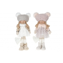 Мягкая декоративная игрушка Девочка 22см, цвет - розовый, 2 вида