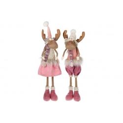 Мягкая декоративная игрушка Олени, 75см, 2 вида, цвет - розовый