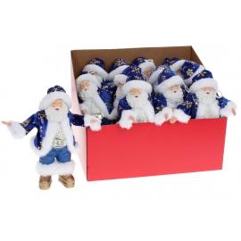 Новогодняя декоративная фигура-подвеска Санта 18см, цвет - синий