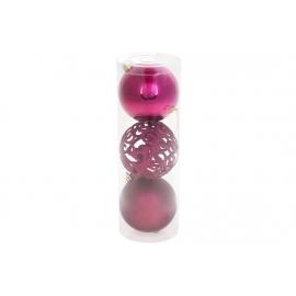 Набор елочных шаров Ажур, 8см, цвет - магнолия, 3шт: 1шт - матовый, 1шт - глянец, 1шт - ажур глиттер